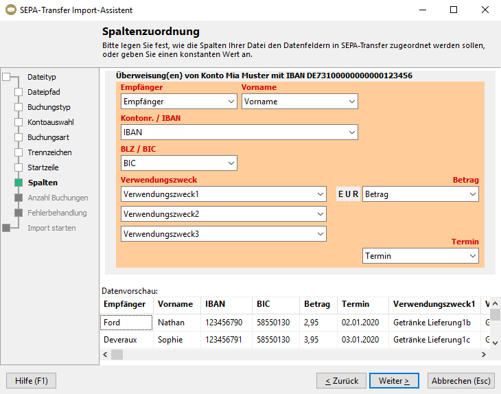 Screenshot SEPA-Transfer showing assistant for data import