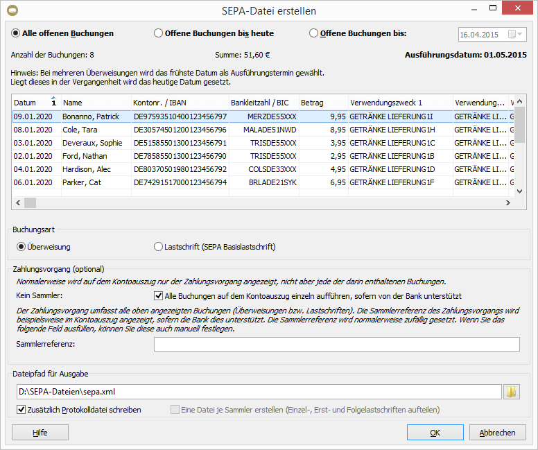 Screenshot SEPA-Transfer showing overview of transaction data