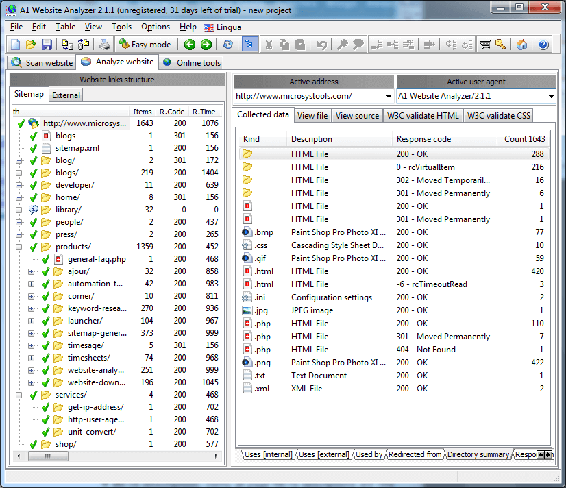 Screenshot Virtual Treeview example website analyzer