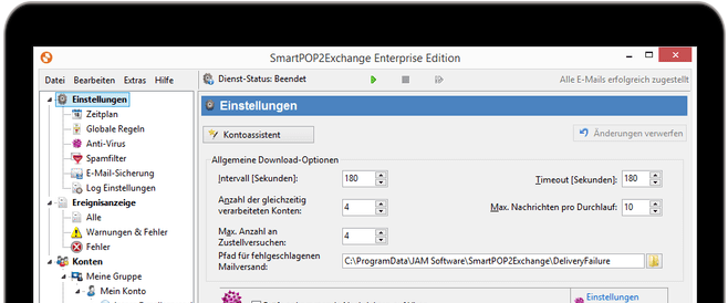 Screenshot SmartPOP2Exchange in einem Device-Rahmen
