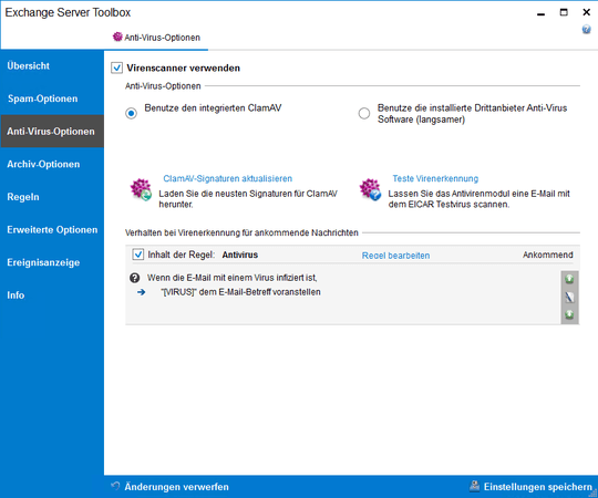 Screenshot Exchange Server Toolbox zeigt Anti-Virus-Optionen