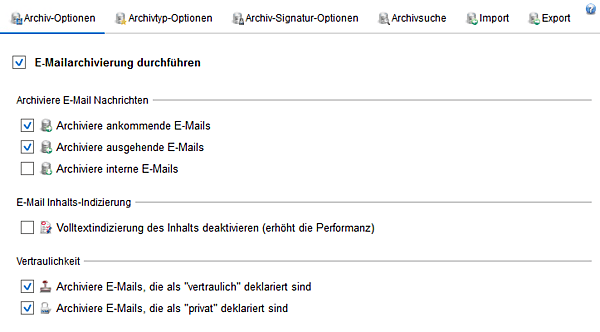 Screenshot Exchange Server Toolbox zeigt Optionen der E-Mail-Archivierung