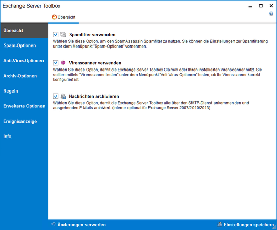 Screenshot Exchange Server Toolbox zeigt die Funktionenübersicht