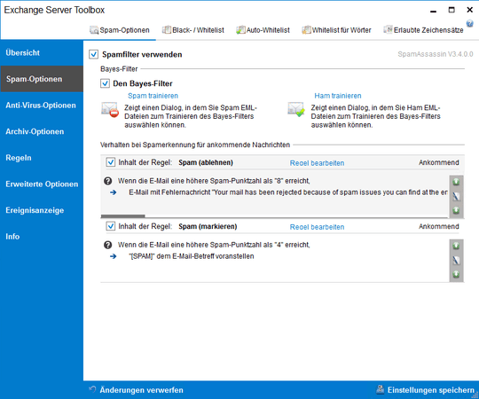 Screenshot Exchange Server Toolbox zeigt Spam-Filter-Optionen