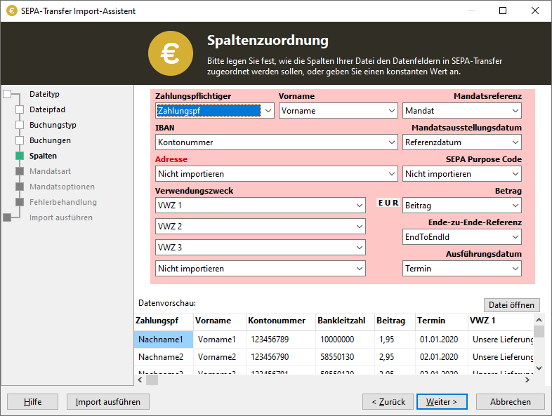 Screenshot SEPA-Transfer Import-Assistent