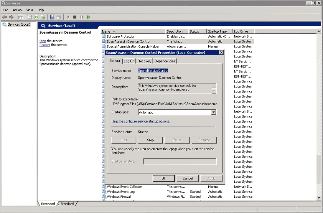 Screenshot System service SpamAssassin in a Box